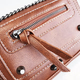 Women's sewing thread rivet chain cover type suction buckle shoulder bag