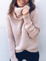 Solid Color Long-sleeved High-necked Pullover New Style Knitwear