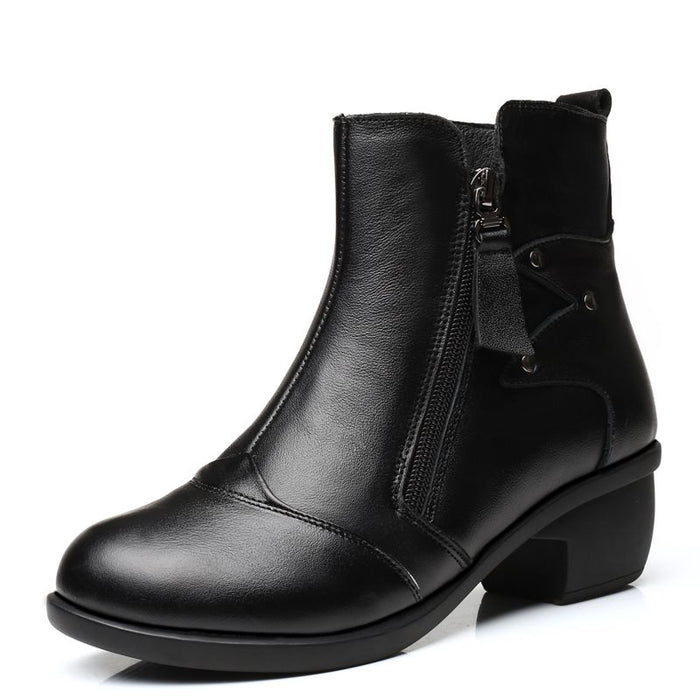 Rubber Chunky Heel Side Zipper Ankle Boots