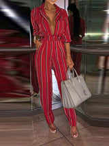 Self-tie at Waist Stripe Print Jumpsuits