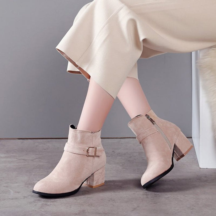 b665d496f37 Autumn and winter with thick heel boots belt buckle Martin boots women's  boots