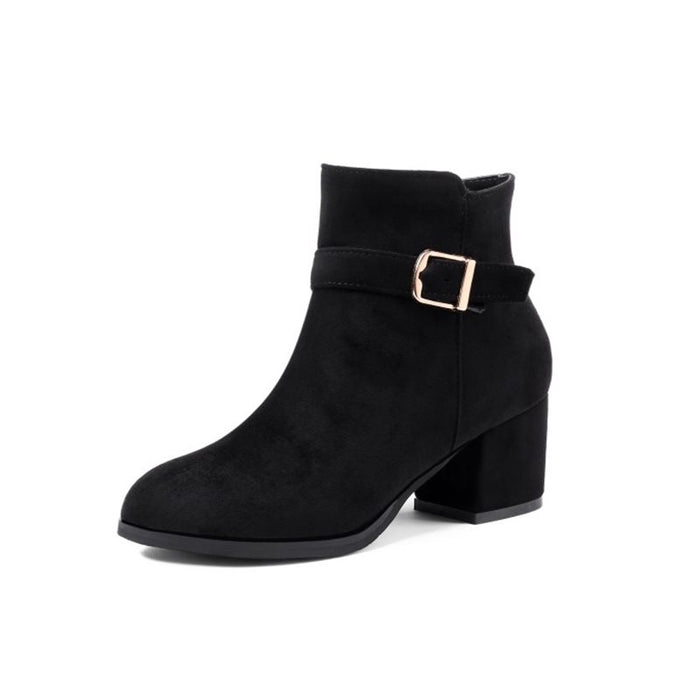 Autumn and winter with thick heel boots belt buckle Martin boots women's boots