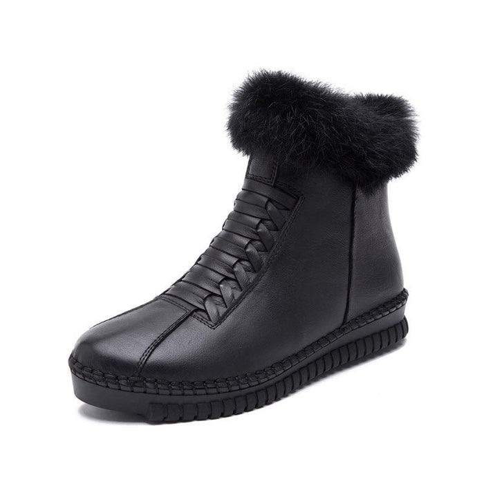Rubber Round Toe Side Zipper Snow Boots