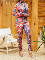 Long Sleeve Asymmetric Floral Print Zipper Suits