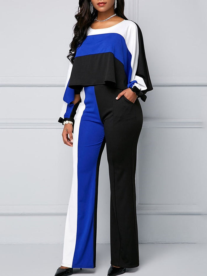 Color Block Long Sleeve Pullover Lace-Up Suits