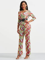 Paisley Printed V Neck Women's Jumpsuits