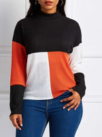 Long-Sleeved Pullover Casual Color Matching Sweater