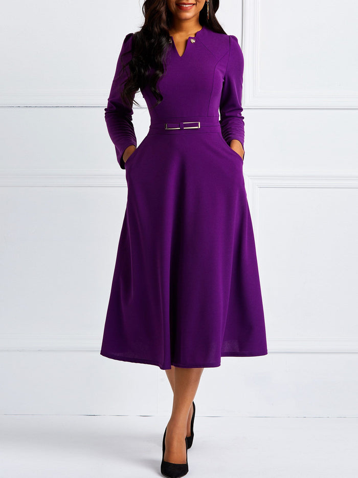 Slim-Fit Long-Sleeved Temperament Dress