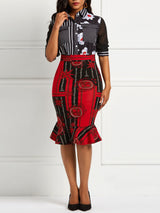 Geometric Print Falbala Patchwork Color Block Skirt