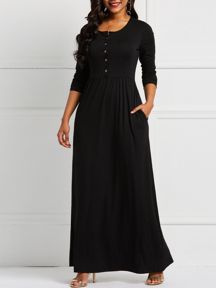 Elegant Single-Breasted High-Waist Maxi Dress