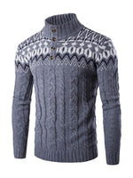 Print Micro-Elastic Long Sleeve Stand Collar Men's Sweater