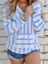 Stripe Long Sleeve Hooded Knitwear