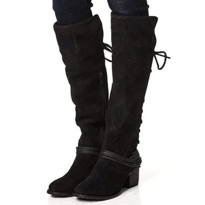 b036331ae7a Plain Suede Cross Strap Knee-High Boots – Leatrend