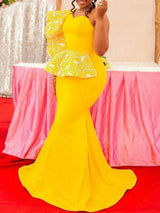 One-Shoulder Floor-Length High Elasticity Mermaid Dress