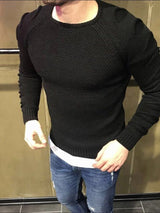 European Plain Round Neck Slim Men's Sweater