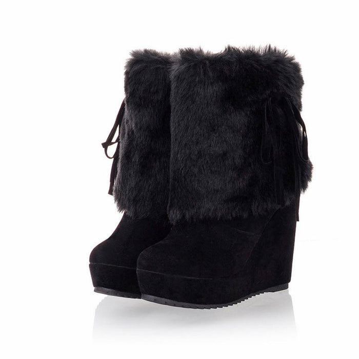 Plain Faux Fur Slip-On Round Toe Women's Snow Boots