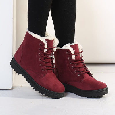 Suede Lace-Up Front Round Toe Women Snow Boots