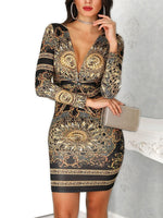 Long Sleeve V-Neck Print Standard-Waist Party/Cocktail Dresses