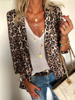 Three-Quarter Sleeve Leopard Notched Lapel Western Blazer