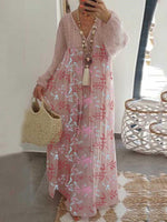 Print Long Sleeve Floor-Length A-Line Western Dress