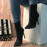 Plain Stiletto Heel Front Zipper Pointed Toe Zipper PU Boots