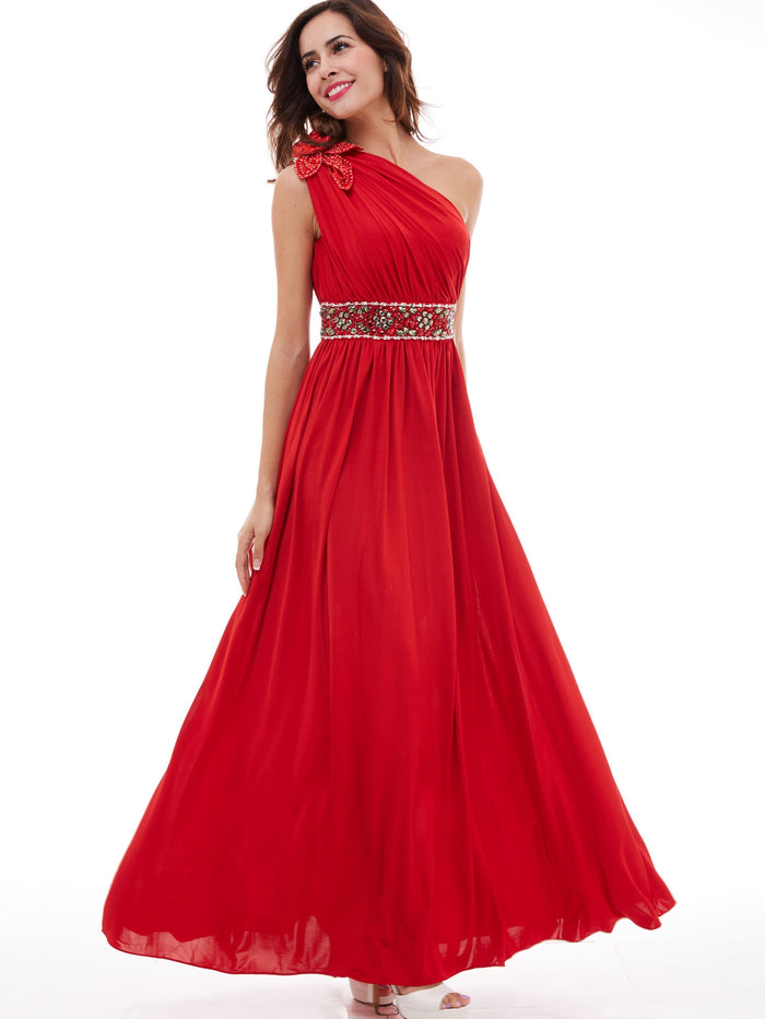 Red Sleeveless One Shoulder Floor-Length Graduation Dress