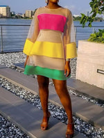Above Knee Round Neck Three-Quarter Sleeve Color Block Fashion Dress
