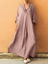 Notched Lapel Ankle-Length Long Sleeve Plain Summer Dress