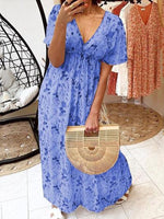 Print Floor-Length V-Neck A-Line Pullover Dress