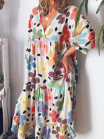 Print Three-Quarter Sleeve Mid-Calf Summer Straight Dress