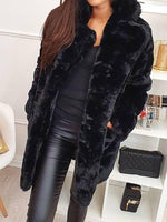 Mid-Length Plain Notched Lapel Thick Loose Faux Fur Overcoat