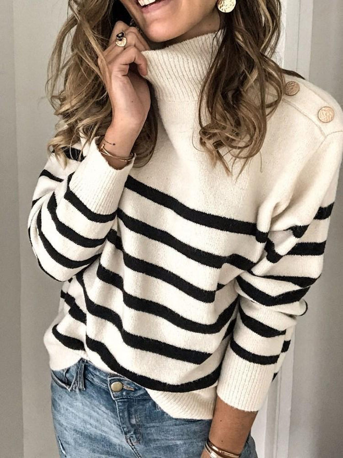 Button Loose Stand Collar Sweater