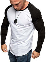 Patchwork Round Neck Hip Hop Slim Long Sleeve T-shirt