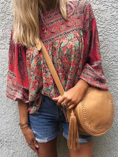 Print Floral Round Neck Standard Three-Quarter Sleeve Blouse
