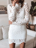 Long Sleeve Lace Above Knee Bodycon Fall Dress