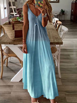 Floor-Length Patchwork V-Neck A-Line Spaghetti Strap Dress