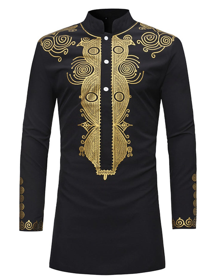 African Ethnic Style Stand Collar Plain Slim Shirt