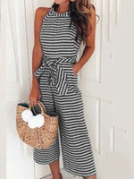 Mid-Calf Stripe Date Night Loose Wide Legs Jumpsuit
