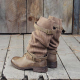 New Sweater Boots Vintage PU Paneled Adjustable Buckle Flat Boots