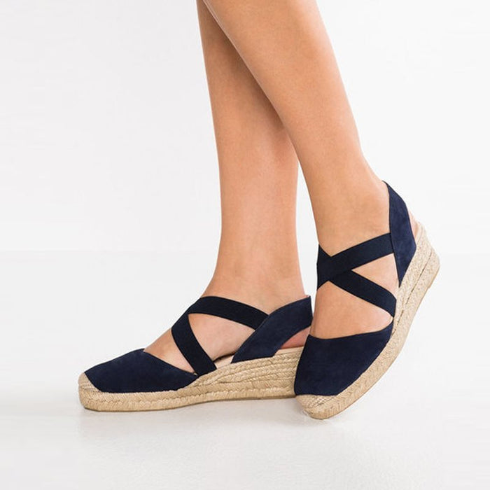 Elastic Band Wedge Heel Closed Toe Plain Vintage Sandals