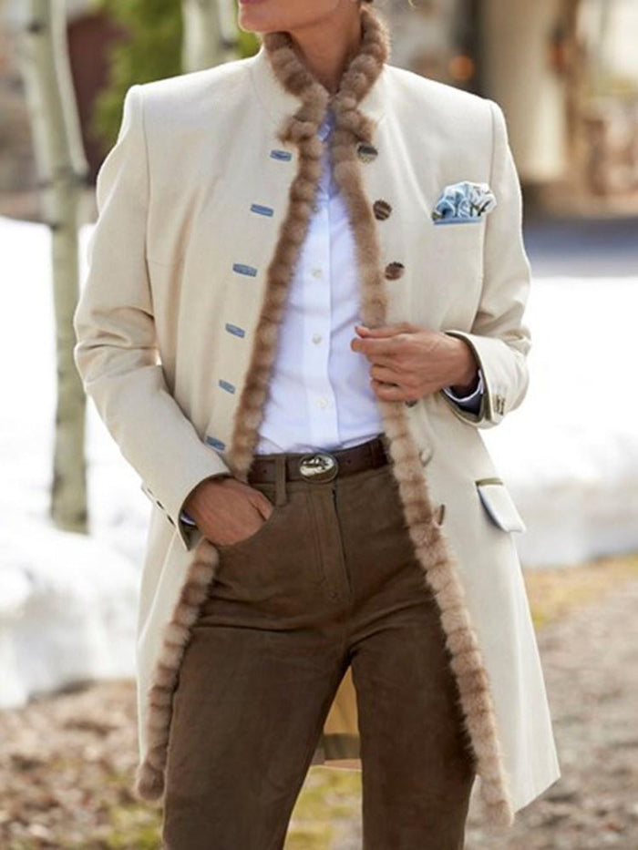 Regular Single-Breasted Straight Fall Mid-Length Overcoat