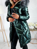 Zipper Patchwork Straight Mid-Length Cotton Padded Jacket