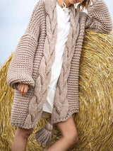 Lantern Sleeve Loose Mid-Length Sweater