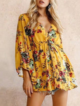 Floral Print V-Neck Nine Points Sleeve Mid-Length Blouse