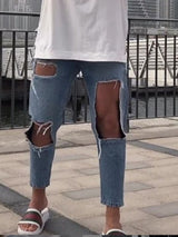Plain Hole Zipper High Waist Jeans