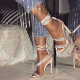 Heel Covering Stiletto Heel Lace-Up Open Toe Plain Casual Sandals