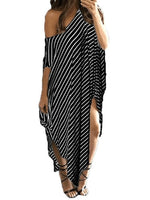 Asymmetric Half Sleeve Ankle-Length Stripe One-Shoulder Dress