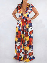Office Lady Full Length Print Loose Jumpsuit