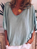 V-Neck Half Sleeve Plain Casual Loose T-Shirt