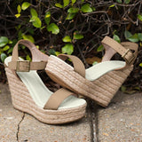 Open Toe Wedge Heel Buckle Western Casual Sandals